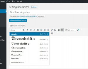 Formatierung headlines wordpress